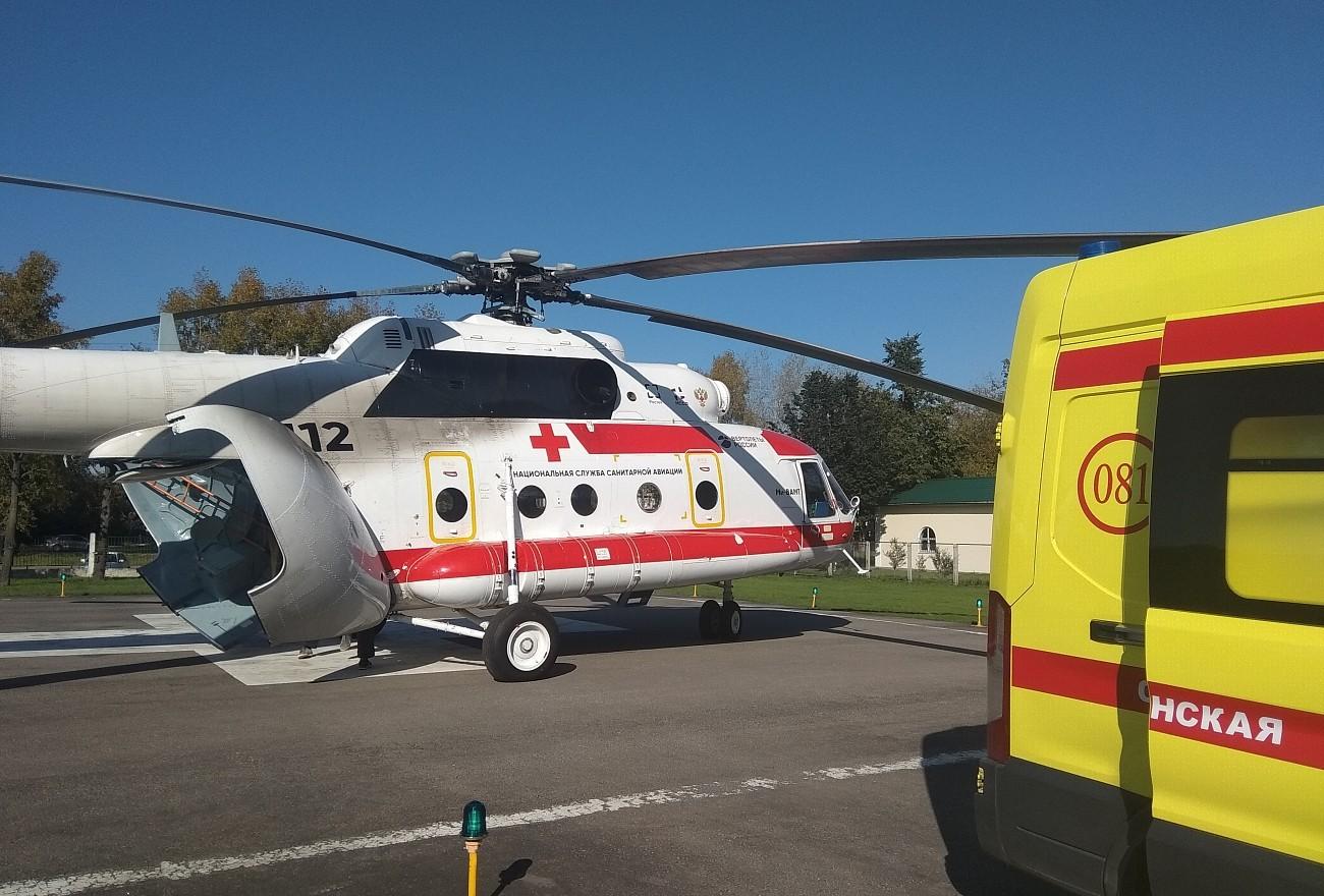 Вертолет санавиации доставил тяжелобольного пациента из Осташкова в Тверь