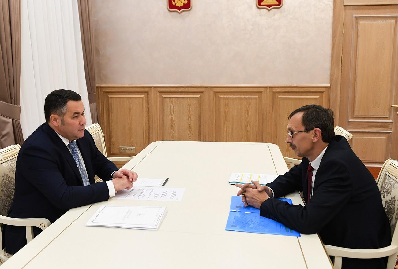 Игорь Руденя встретился с главой Оленинского района Олегом Дубовым