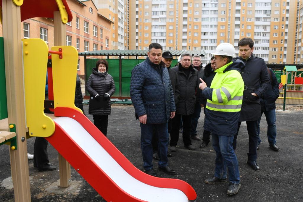 Игорь Руденя ознакомился с ходом строительства детского сада в микрорайоне «Южный» Твери