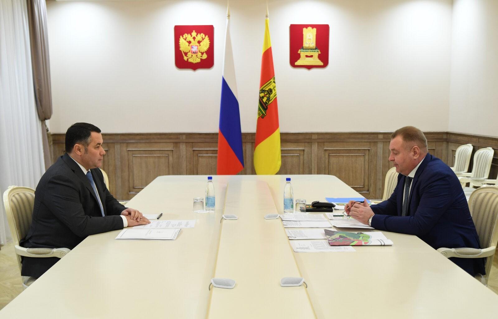 Губернатор Игорь Руденя провёл встречу с главой Калининского района Андреем Зайцевым