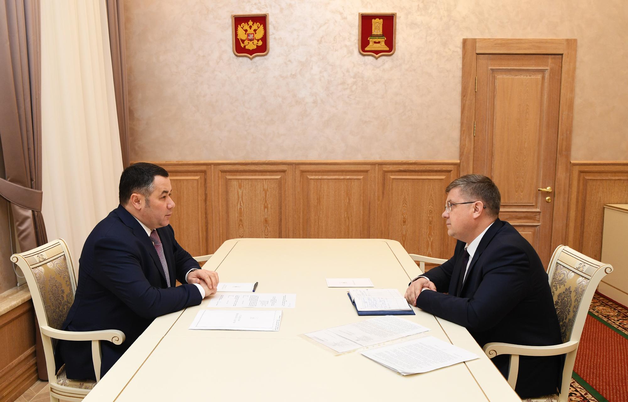 Игорь Руденя обсудил с главой Торжка Юрием Гуриным социально-экономическое развитие муниципалитета