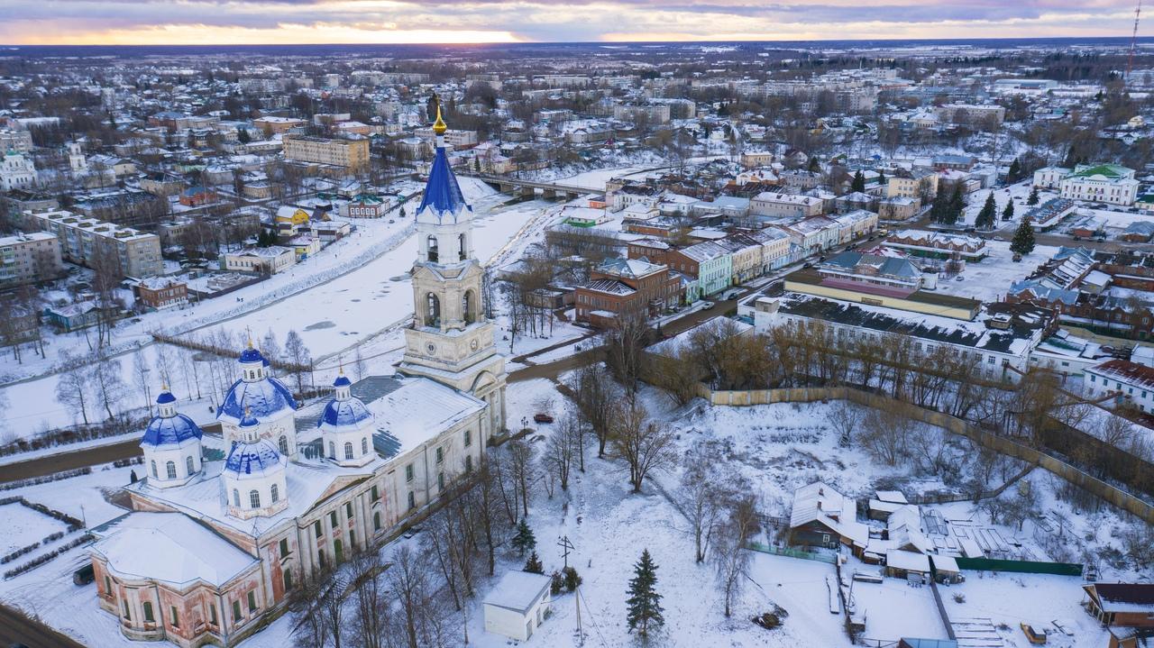 Кашин Тверской области сфотографировали с высоты птичьего полета