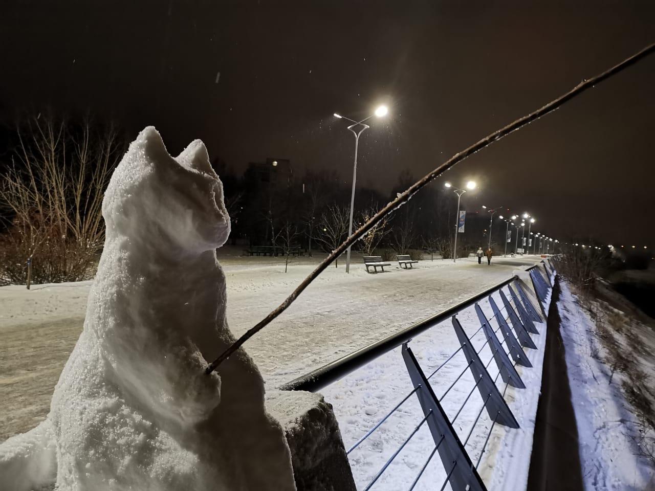 У бронзового тверского рыбака появился снежный кот-побратим в Дубне
