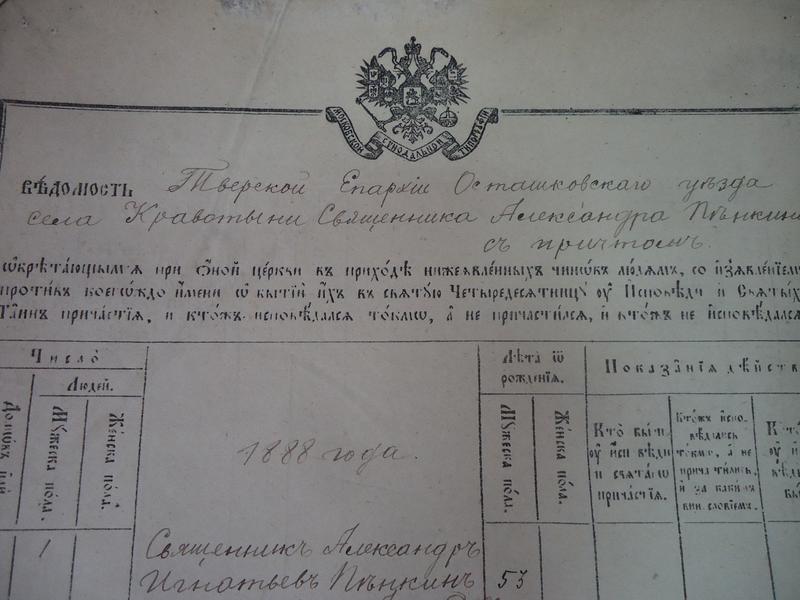 В Тверской архив передадут в дар исповедальную книгу конца XIX века