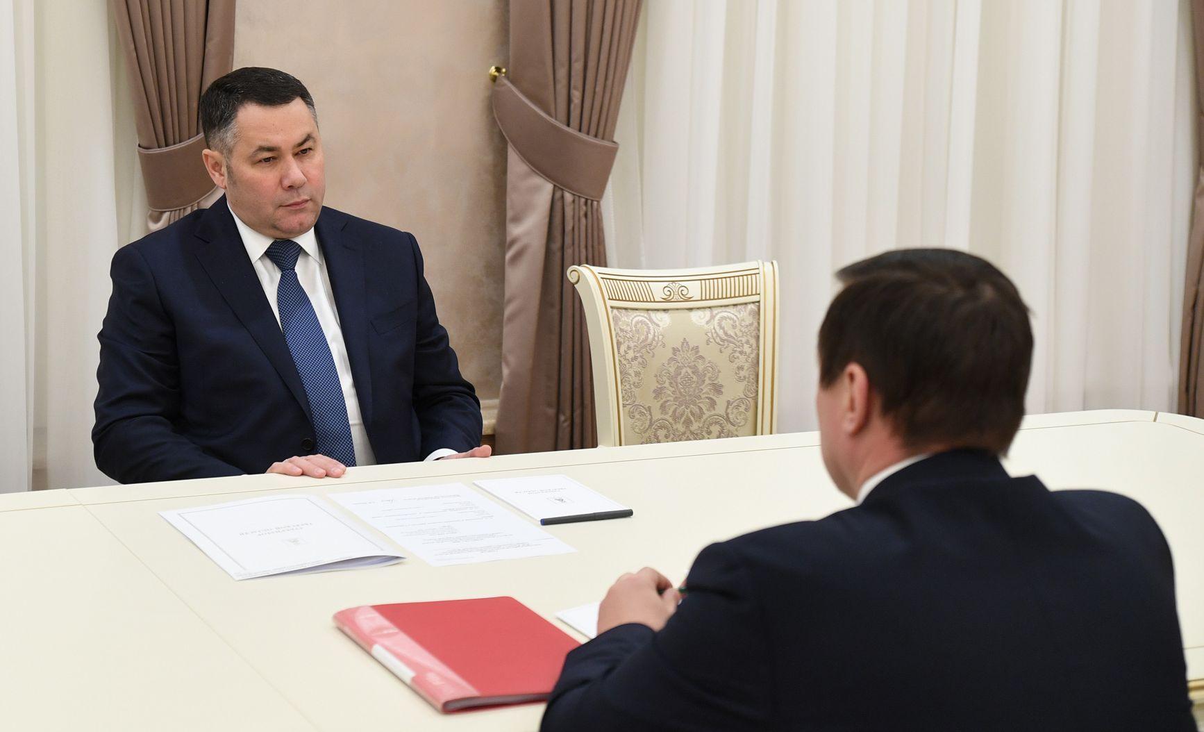 Игорь Руденя встретился с главой Сандовского района Олегом Грязновым