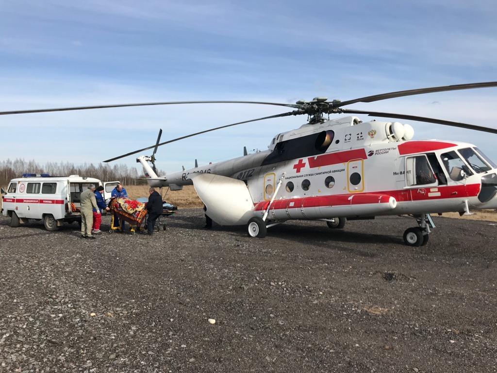 Вертолет доставил тяжёлого пациента из Бежецка в Тверь