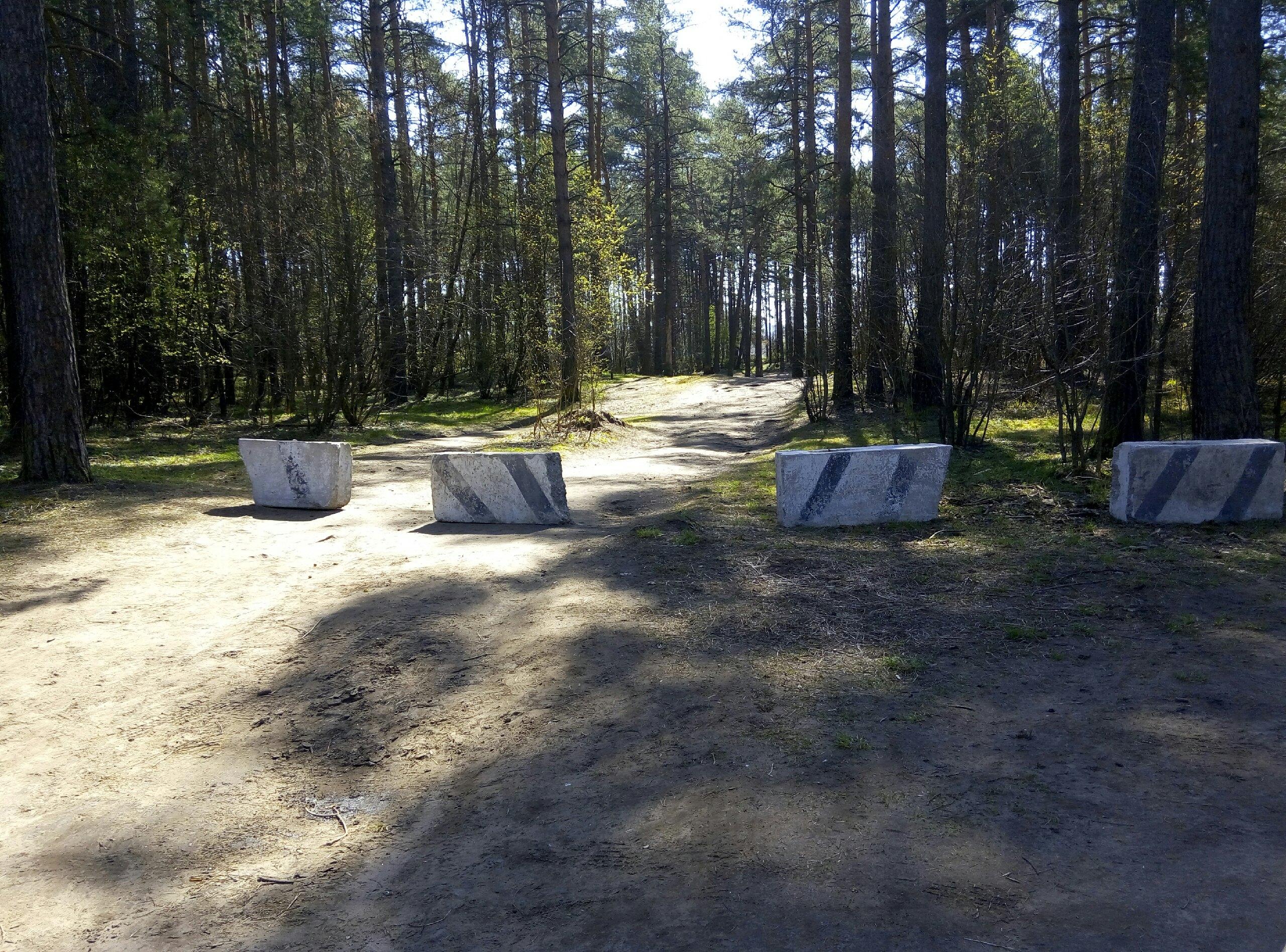 В Первомайской роще в Твери подъезд к Тьмаке перегородили бетонными блоками