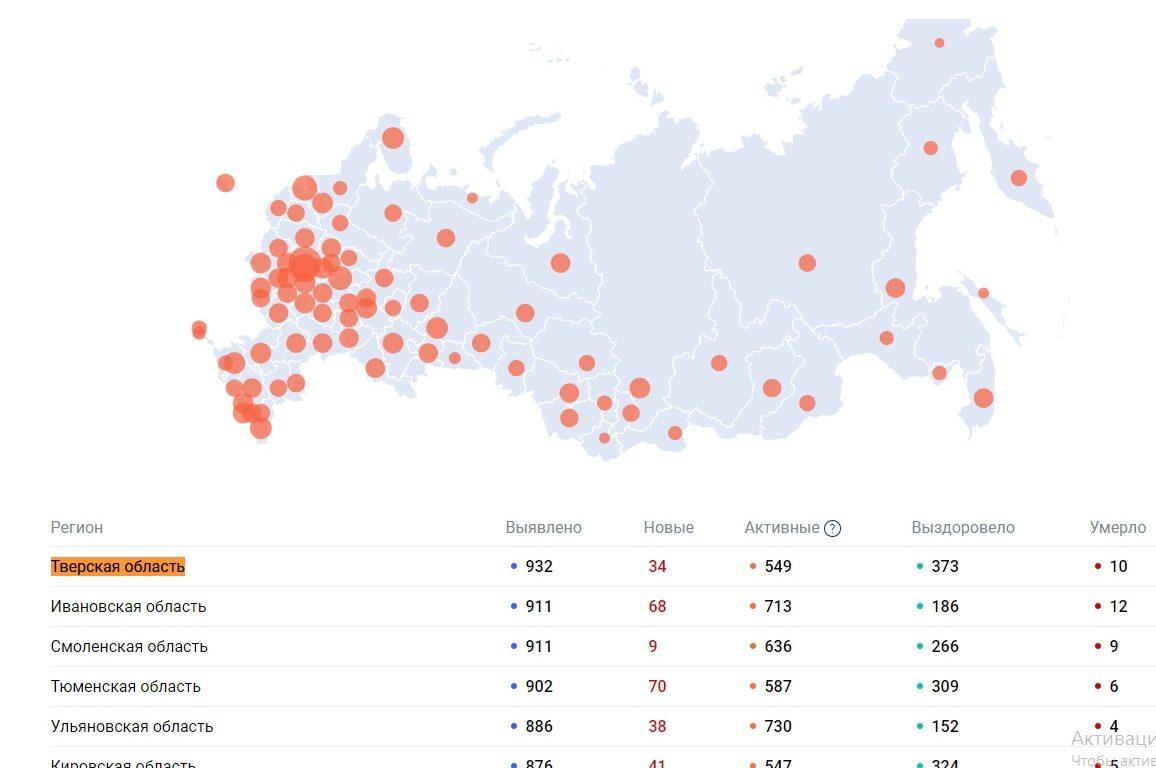 Данные по коронавирусу в Тверской области на 13 мая