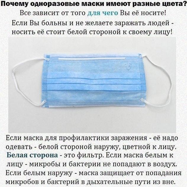 Какой стороной надо носить одноразовую маску, если здоров
