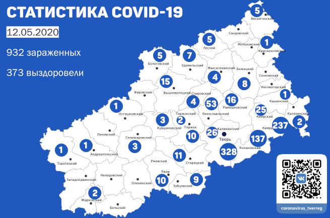 Ситуация по коронавирусу в муниципалитетах Тверской области