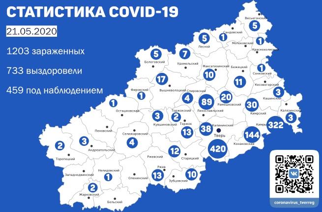 Коронавирус обошел стороной больше половины районов Тверской области 21 мая
