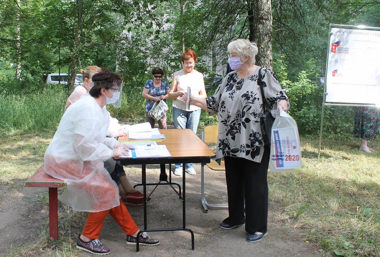 Жители Тверской области голосуют по поправкам к Конституции РФ во дворах собственных домов и на дачах