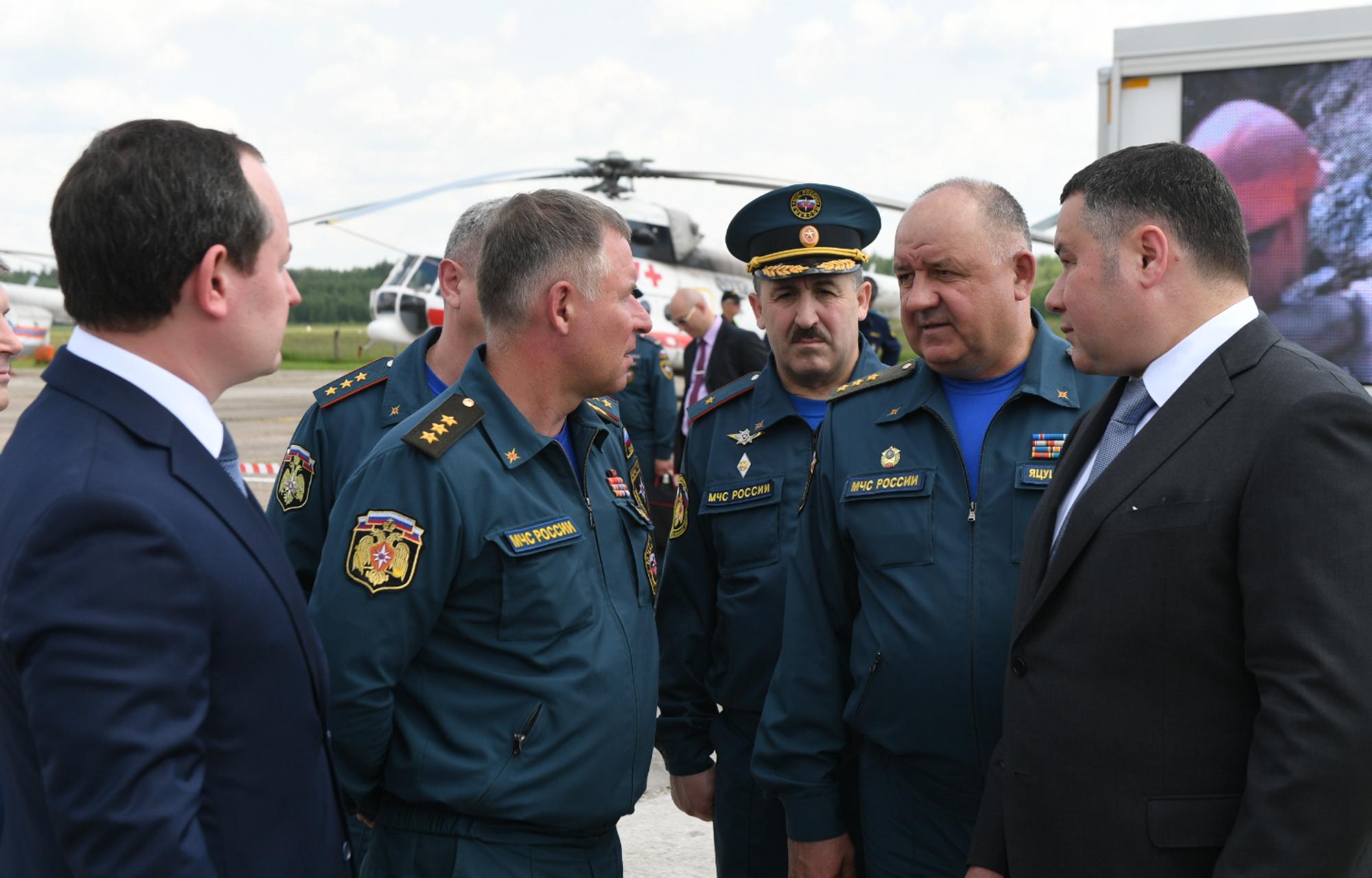 Игорь Руденя и Министр МЧС России Евгений Зиничев провели авиационную разведку пожароопасной обстановки