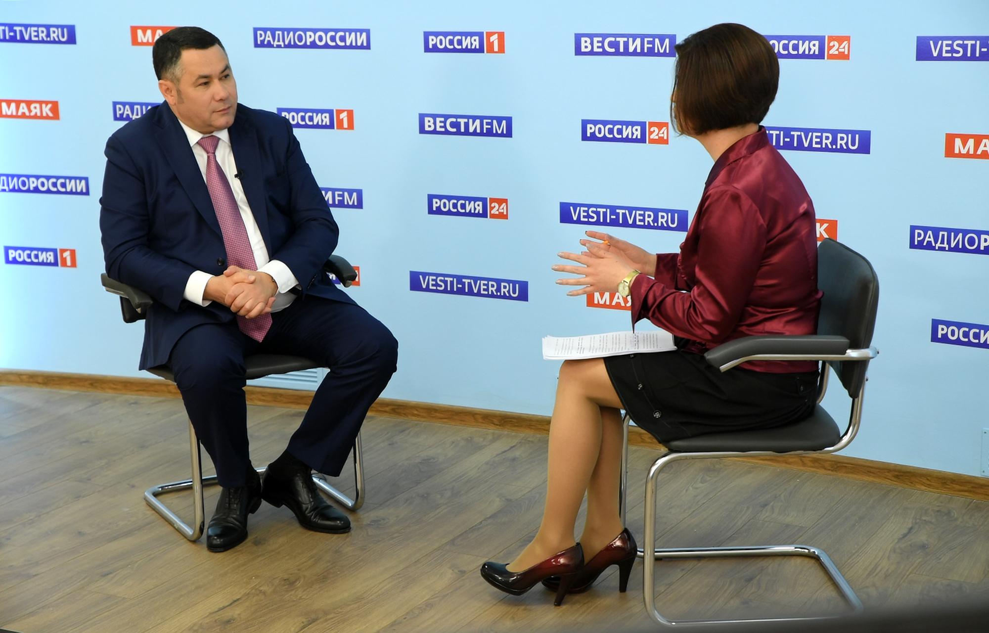 Игорь Руденя в прямом эфире «России 24» Тверь ответил на актуальные для жителей Верхневолжья вопросы