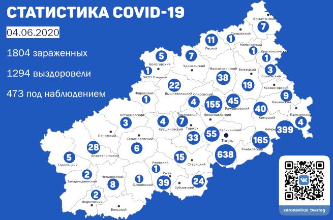 Новые случаи коронавируса зафиксированы в 14 районах Тверской области