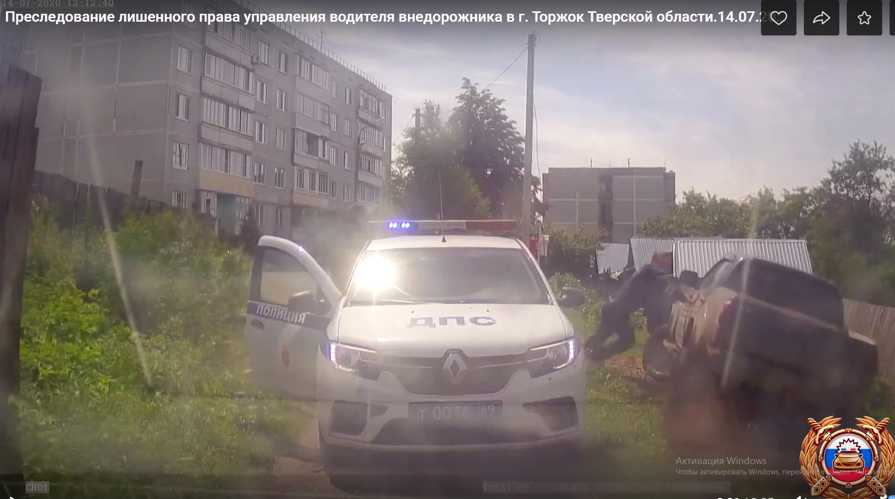 Водитель внедорожника не смог уйти от погони автоинспекторов в Тверской области