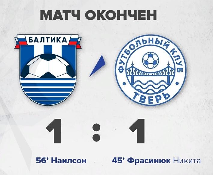 ФК «Тверь» сыграл вничью с командой «Балтика»