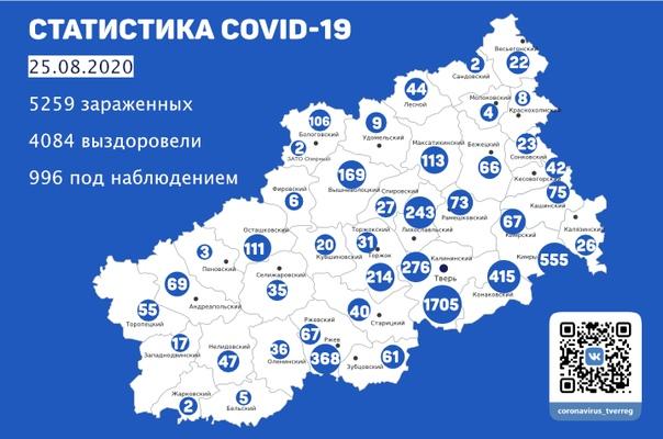 Карта коронавируса: меньше всего инфекции подвержены три района Тверской области