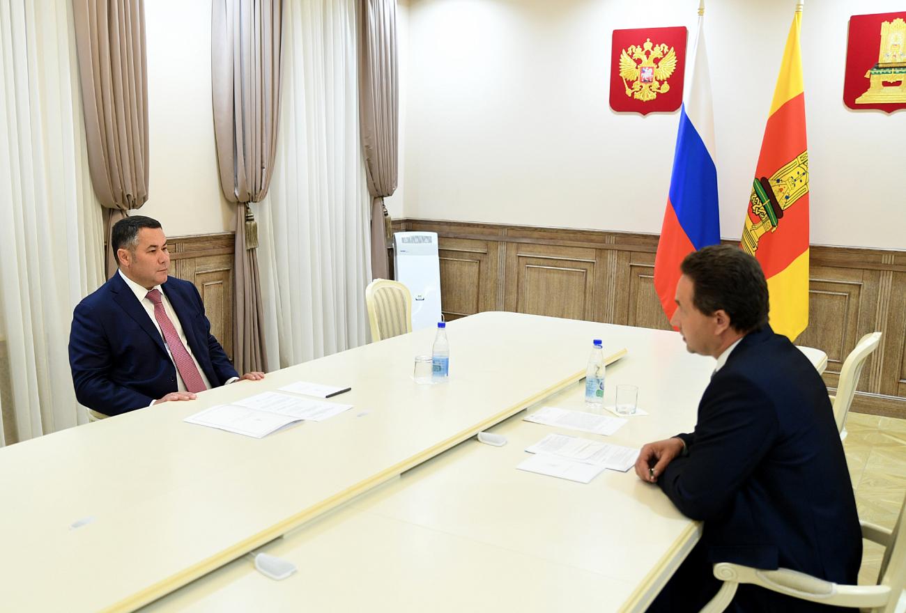 Игорь Руденя и Андрей Белявский обсудили газификацию поселка Жарковский