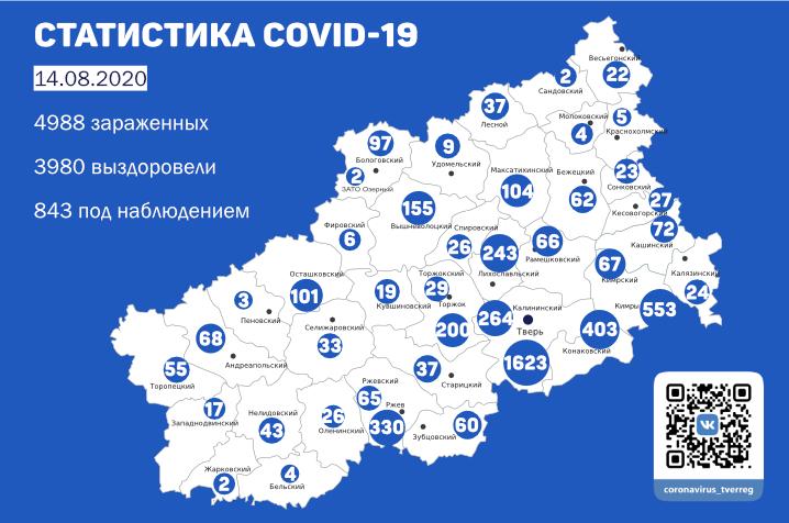 Карта коронавируса: названы районы Тверской области с наибольшим числом носителей инфекции