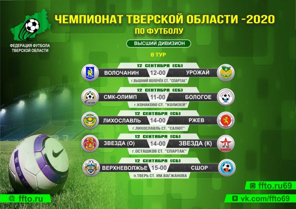 Опубликовано расписание игр 8-ого тура Чемпионата и Первенства Тверской области по футболу