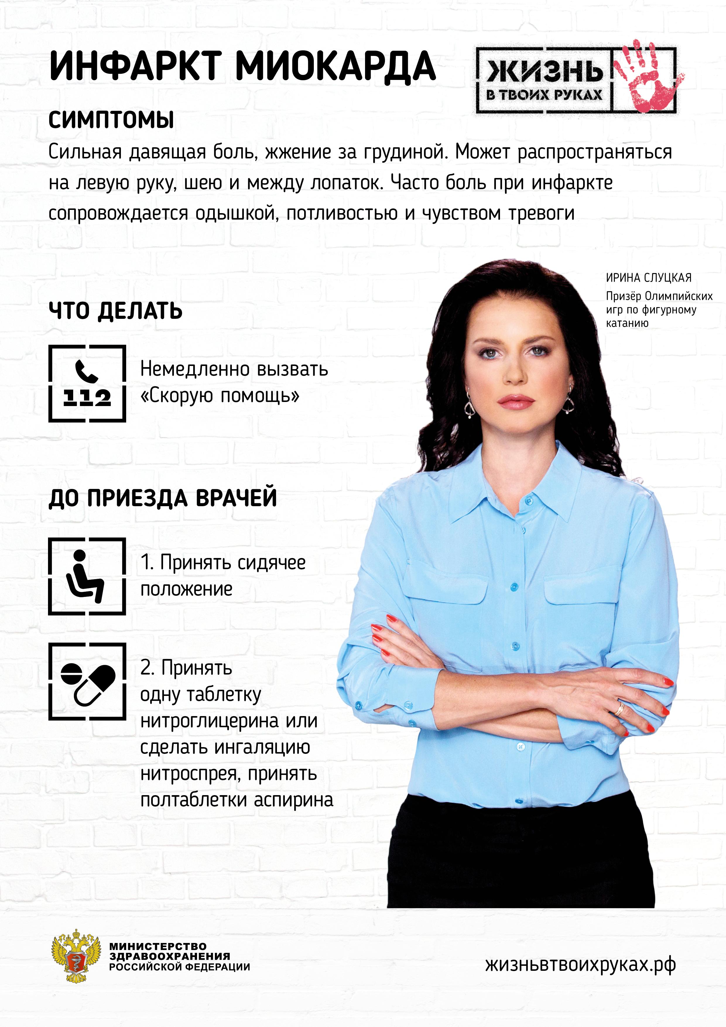 Спортсменка Ирина Слуцкая рассказывает, как распознать у человека инфаркт