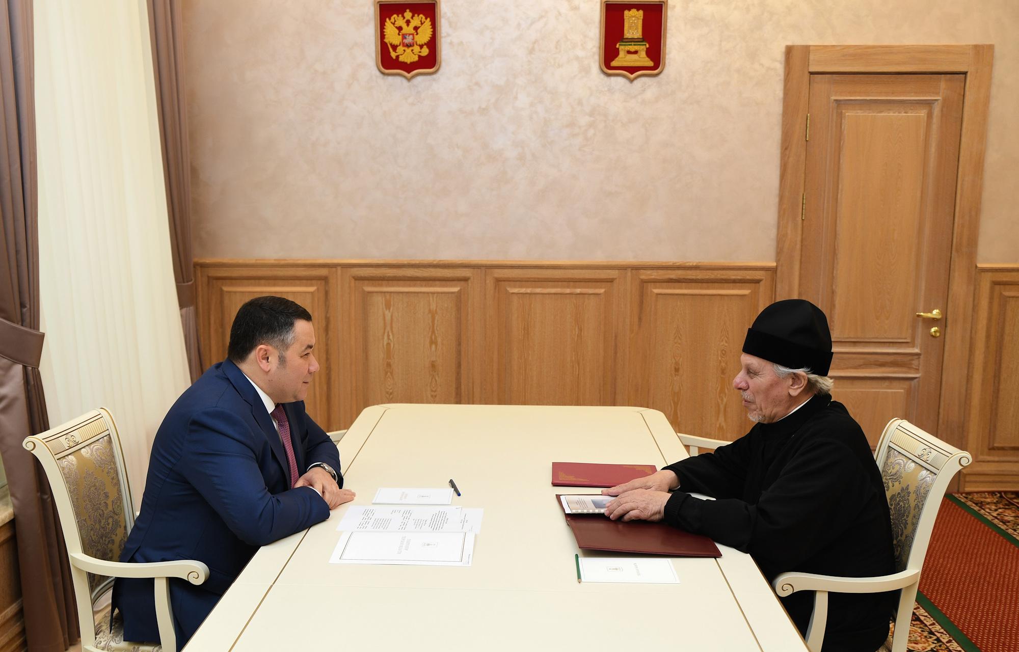 Губернатор Тверской области поздравил протоиерея Алексия Злобина с награждением орденом Дружбы от Президента
