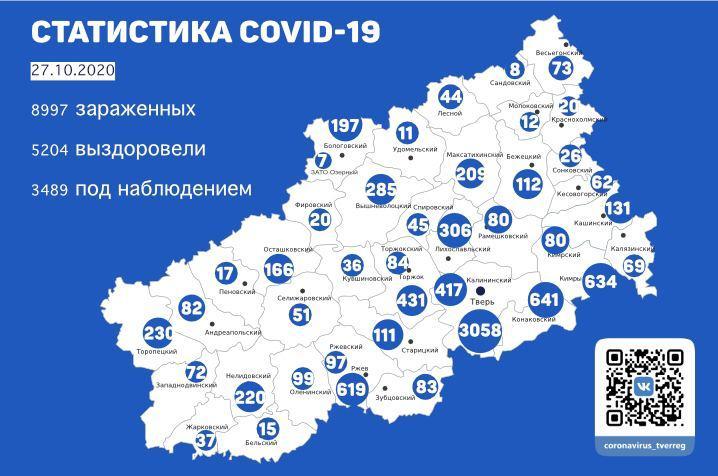 Карта распространения инфекции: коронавирус атаковал 26 районов Тверской области