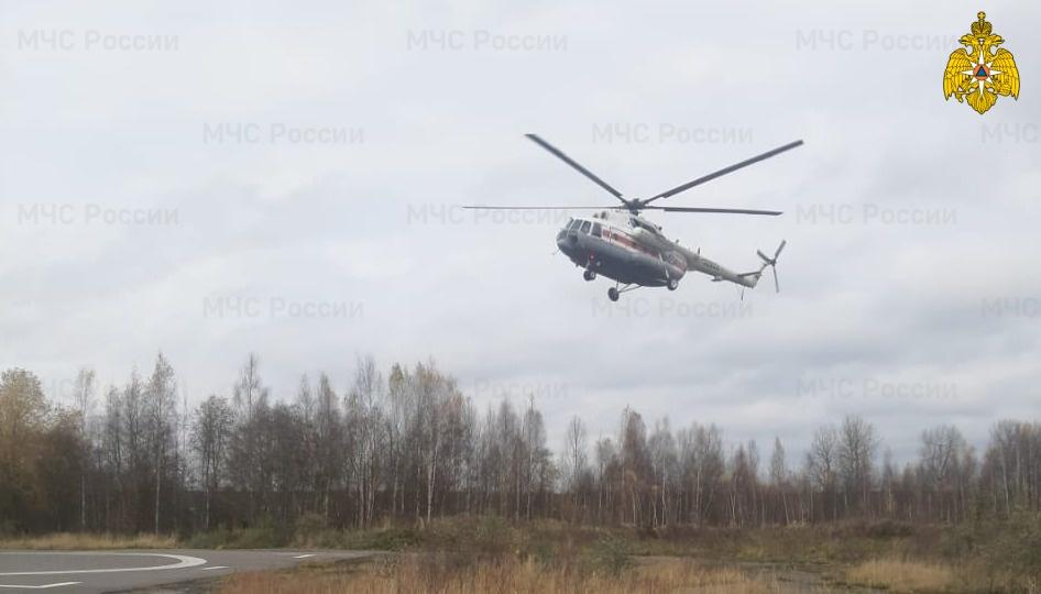 Тяжелобольного нелидовца доставили на вертолете санавиации в Тверь
