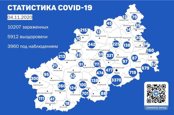 Карта коронавируса: в каких районах Тверской области болеют меньше всего
