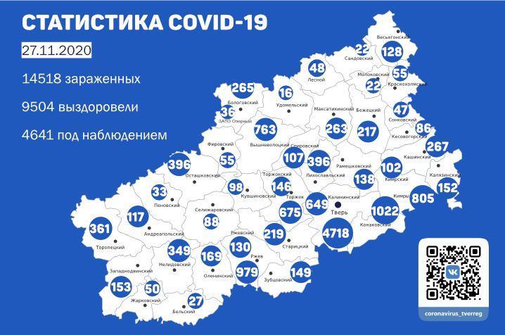 Карта распространения коронавируса в Тверской области 27 ноября