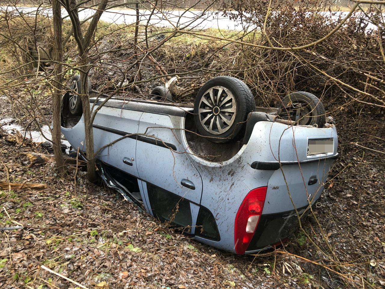 Автолюбительница вылетела с трассы в Тверской области