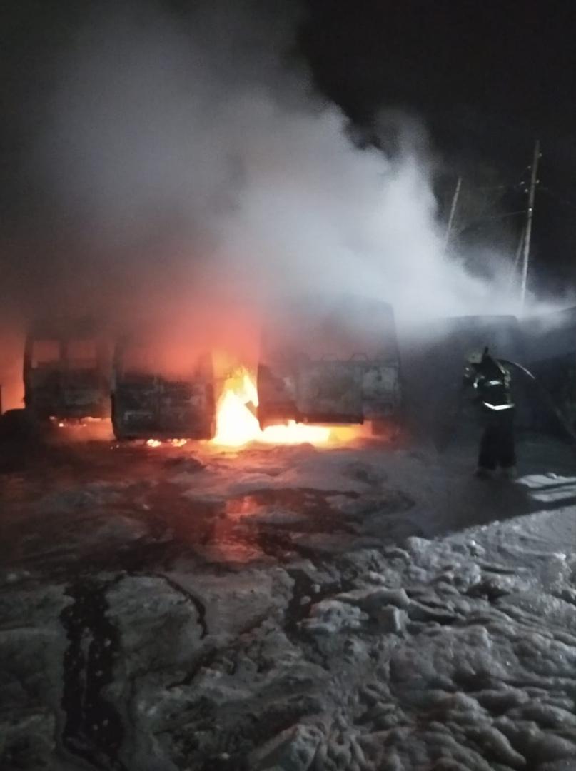 В Тверской области ночью полыхали сразу несколько автобусов