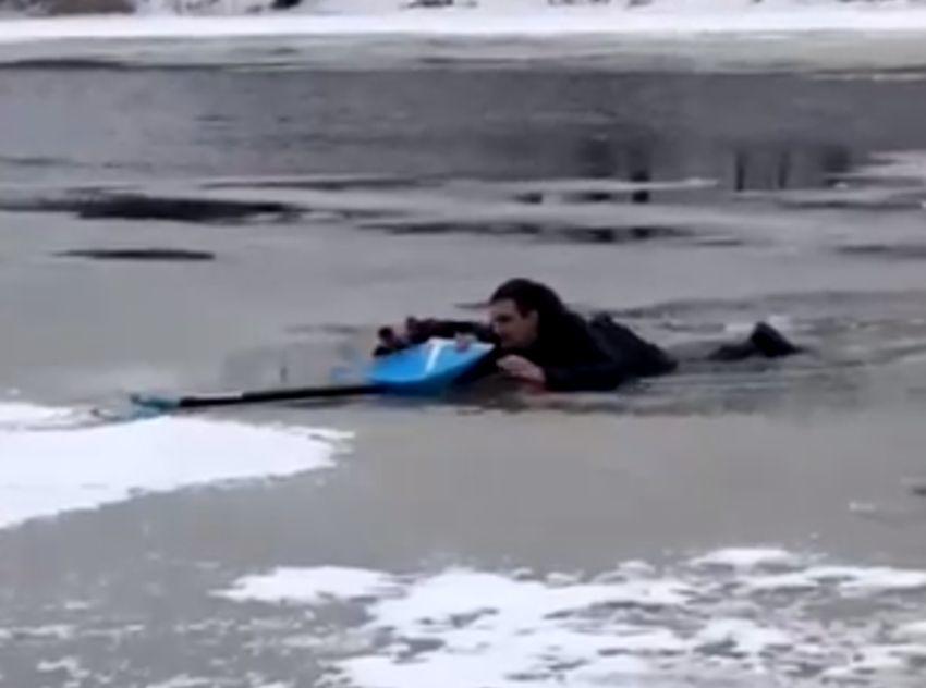 Момент спасения молодого человека и собаки, провалившихся в полынью на Волге в Твери, попал на видео