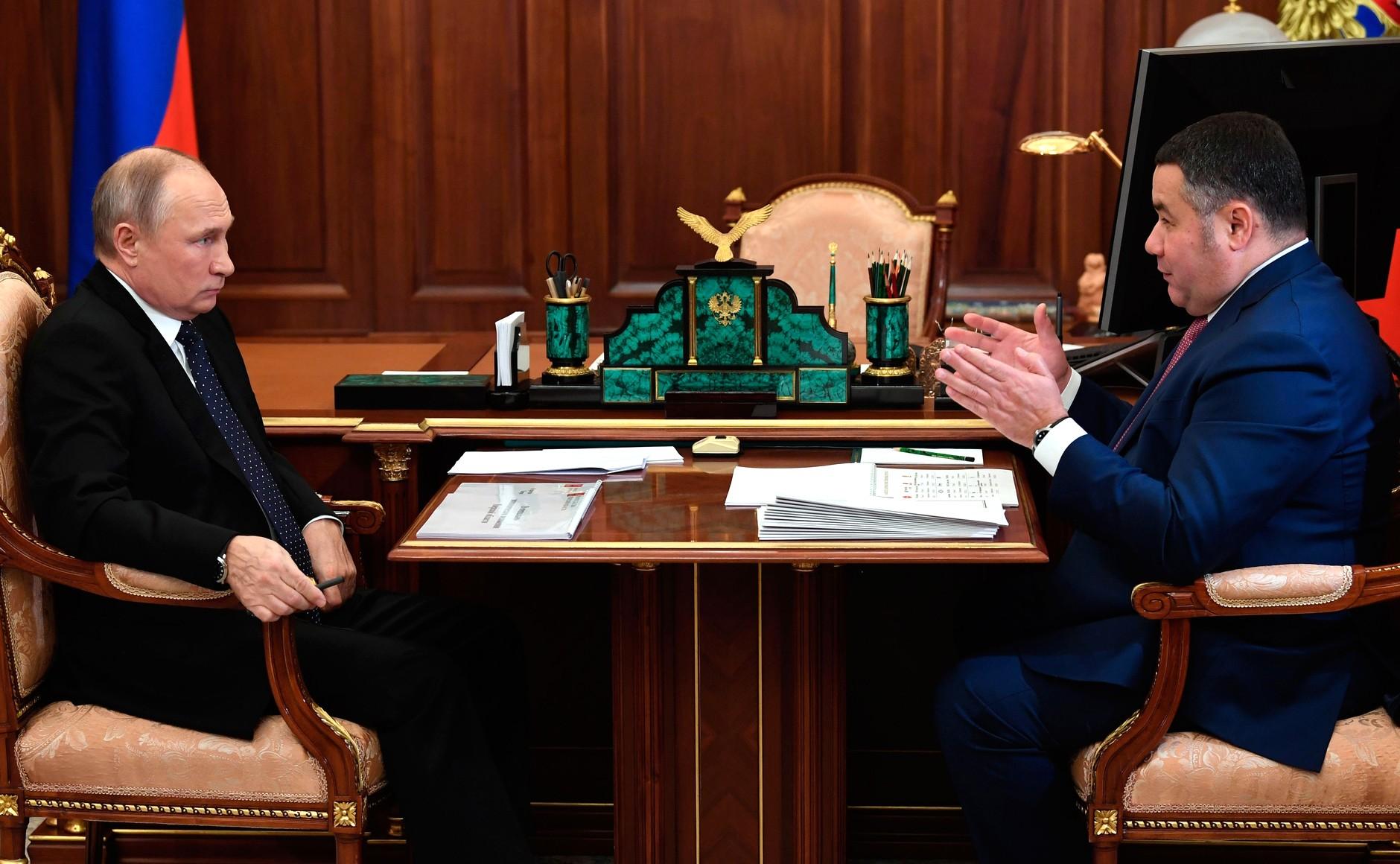 Игорь Руденя доложил Владимиру Путину о поддержке бизнеса в Тверской области