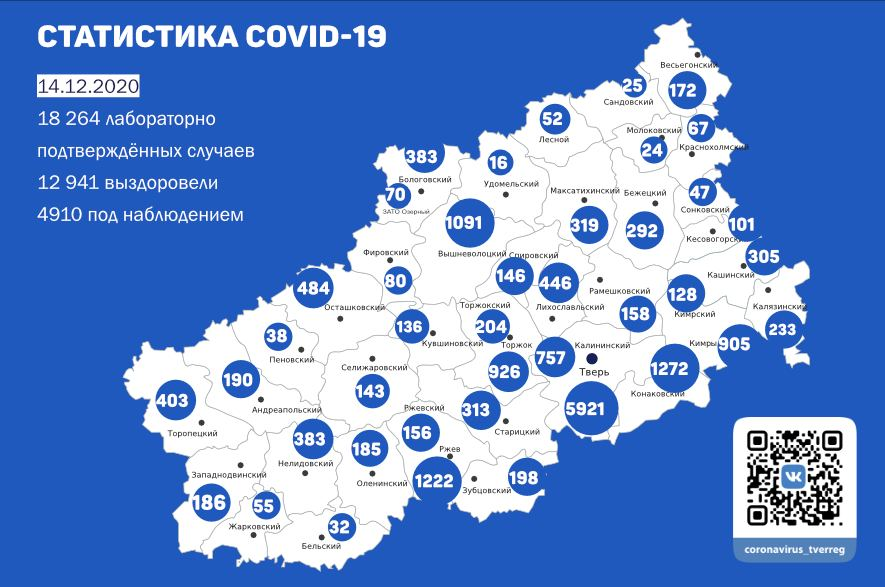 Карта коронавируса: в каких районах Тверской области меньше всего болеют ковидом