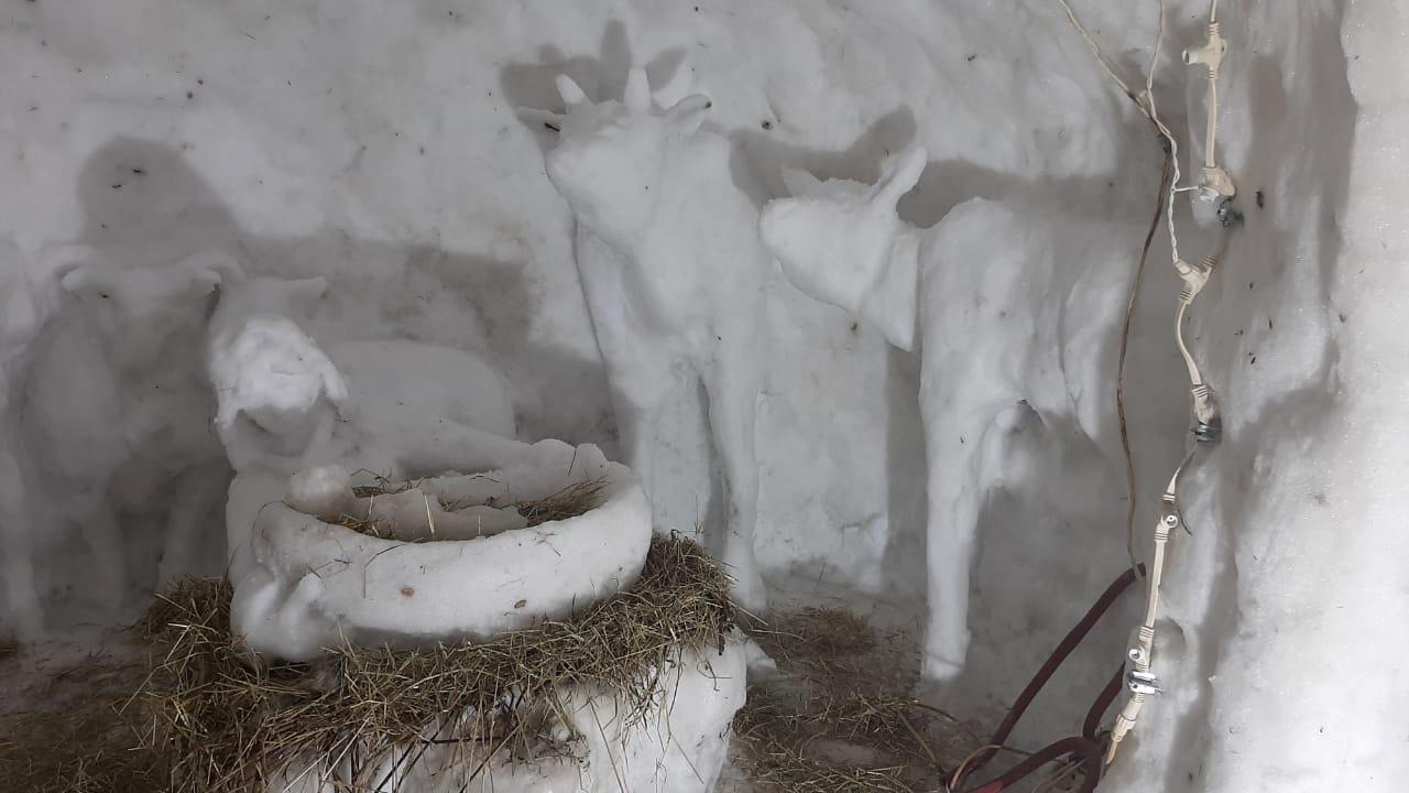 У стен храма в Твери появился рождественский вертеп из снега