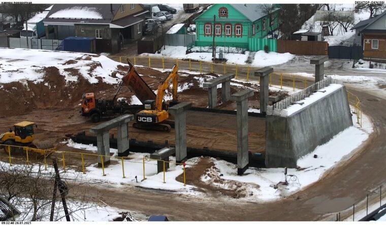строительные работы на путепроводе
