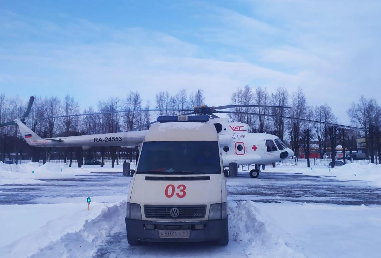 Из области в Тверь вертолёт доставил пациентов с коронарным синдромом