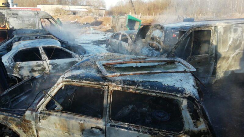 В Тверской области сгорело несколько автомобилей