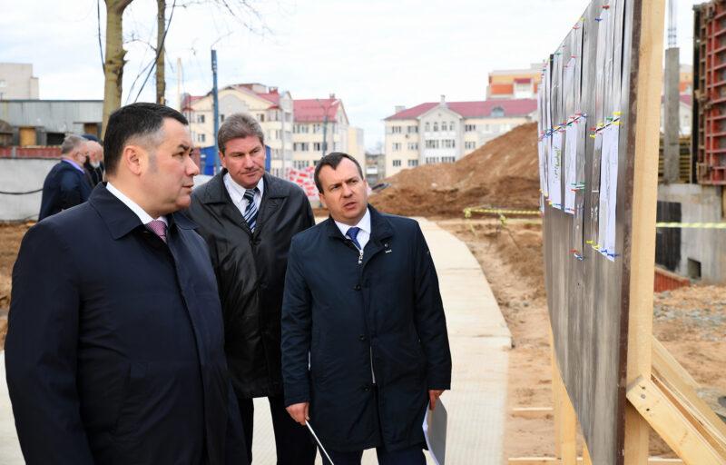Игорь Руденя проинспектировал строительство детского сада на улице Склизкова в Твери