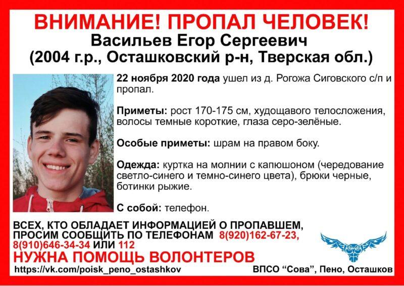"""Волонтеры ВПСО """"Сова"""" организуют поиски Егора Васильева из Осташкова"""