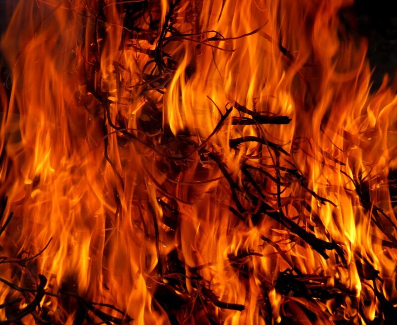 Пожар под Тверью чуть не спалил кладбище