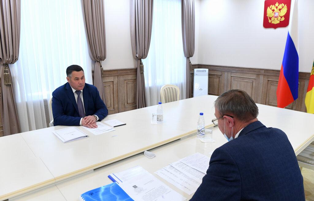 Губернатор Игорь Руденя провел встречу с главой Ржевского района Михаилом Петрушихиным
