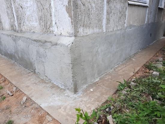 В Оленино отремонтировали фундамент многоквартирного дома