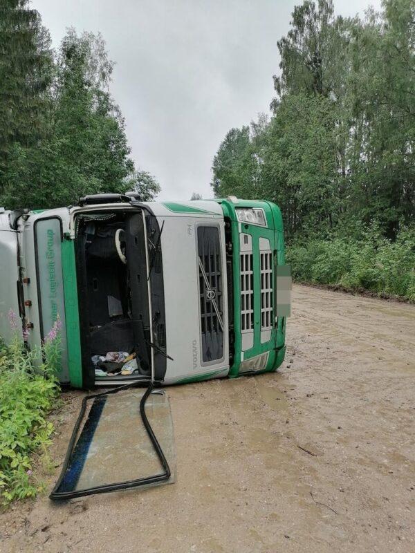 Водителя опрокинувшегося лесовоза в Тверской области лишили прав