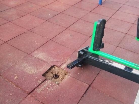 В поселке Оленино восстановят разрушенную тренажёрную площадку