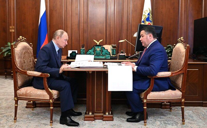 Президент России Владимир Путин встретился с губернатором Тверской области Игорем Руденей в Кремле