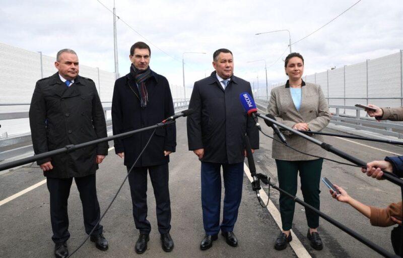 В Вышнем Волочке Игорь Руденя и Игорь Щеголев приняли участие в открытии путепровода через Октябрьскую железную дорогу