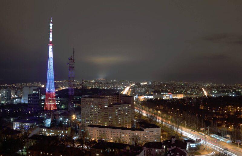 В Твери в честь 20-летия телевидения России включат подсветку на телебашне РТРС